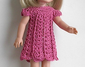 "14.5"" Doll Clothes Crocheted Pink Dress and Mary Jane Shoes Handmade to fit the Wellie Wishers doll and other similar dolls - Made to Order"