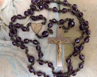 Vintage Amethyst Glass Bead Rosary and Cross