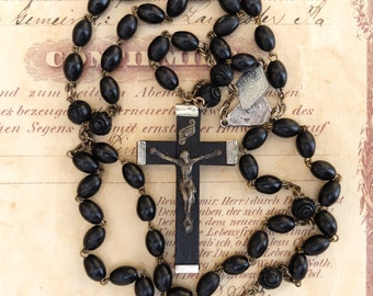 AS IS Vintage Rosary Ebony Wooden Beads and Cross Italy