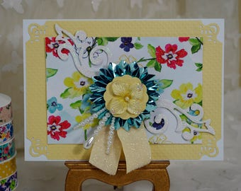 All Occasion Card,  Handcrafted Card, Floral Card
