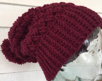 Textured Cabled Celtic Weave Wool Slouch Beanie Pom Pom Winter Hat
