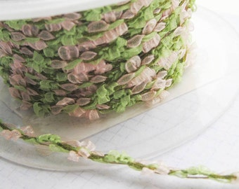 Ribbon Galon Rococo vintage French trimming rosettes Pale  Pink and green