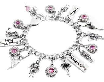 Personalized Nutcracker, Sugar Plum Fairy, charm bracelet with choice of engraved name and crystal color