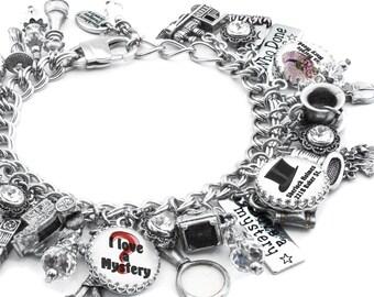Mystery Charm Bracelet, Silver Charm Bracelet, Mystery Books Bracelet, Detective Jewelry, Murder Mystery Jewelry