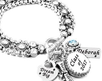 Graduation Jewelry, Gift for Graduate, Graduation Bracelet, Personalized Graduate Jewelry, High School, College Jewelry
