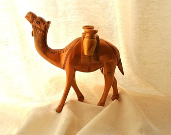 """Wooden handcrafted camel made of olive wood in Bethlehem, hand painted by me-8.5""""/21cm height"""
