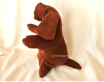 Dog, 11inch/ 27.5cm soft stuffed toy made of cotton corderoy stuffed with merino wool