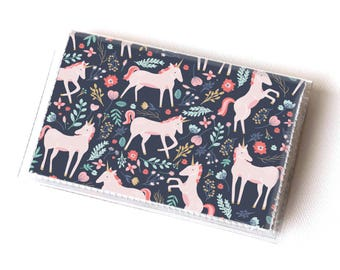 Vinyl Card Holder - Unicorn Forest / magical, mythical, kids, childrens, cute, blue, card case, vinyl wallet, pink, floral, small, pretty