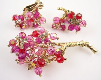 Vintage Red and Pink Crystal Rhinestone Brooch Set