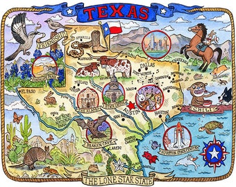 "Texas State Map 8""x 10"" Art Print"