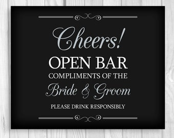 Printable 8x10 Cheers Open Bar Wedding Reception Digital Sign - Black, White and Silver- Instant Download