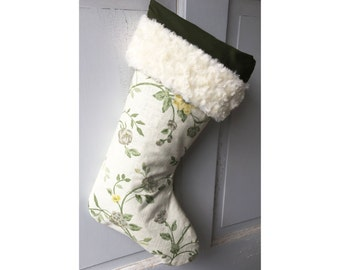 Cream LinenHeirloom Christmas Stocking - Heirloom Holiday Decor