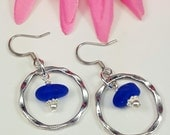 Sea Glass Jewelry Sea Glass Earrings Cobalt Blue Sea Glass Earrings Aqua Sea Glass Earrings Sea Glass Jewelry E-184