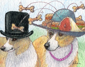 Welsh Corgi dog 8x10 art print her snack attack Ascot hat ever ready noms picnic always be prepared top hat leg of lamb by Susan Alison