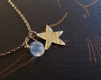 14k solid gold star necklace - make a wish modern minimalist tiny charm