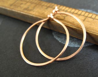 14k solid rose gold hammered hoop earrings pink gold endless hoops rustic matte gold organic shape
