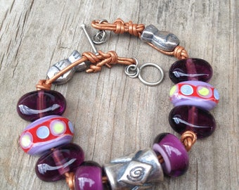 Handmade Leather and Lampwork Glass Bead Bracelet in Purple