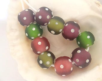 10 Etched Handmade Lampwork Beads