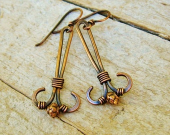 Hammered Antiqued Copper Wire Wrap Dangle earrings with textured copper beads
