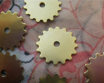 On Sale 25% Off Small Solid Sprockets Gear or Cog Charms Brass Stamp Blanks 16mm 6 Pcs