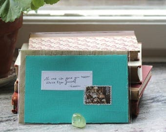 No one can give you wiser advice than yourself Turqoise card with handwritten quote and British King Arthur postal stamp
