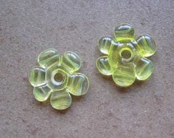 Lampwork Beads - SueBeads - Disc Beads - Disc Flowers - Daffodil Cut Disc Flower Bead Pair - Handmade Lampwork Beads - SRA M67