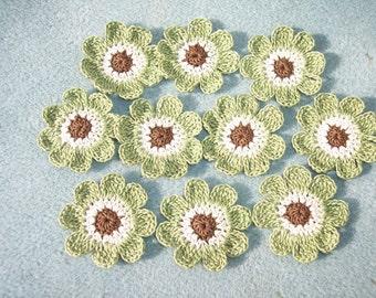 10 crochet applique flowers brown ecru green  -- 2553