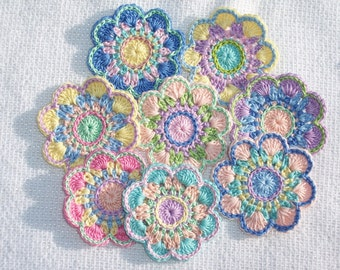 8 handmade cotton thread crochet applique flowers -- 2596