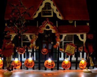 Halloween Dollhouse Lighted Pumpkin Fence and More!