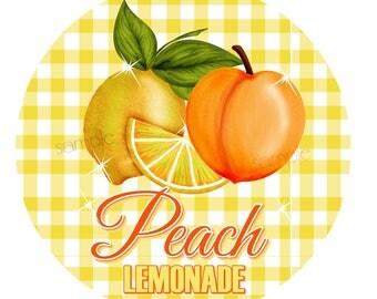 Peach Lemonade Stickers, Lemon Stickers, Picnic, Fruit stickers, Fruit Labels, Lemonade Stand, Vintage, Retro Lemonade