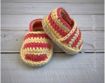 Crochet Baby Cotton Espadrilles - READY to SHIP