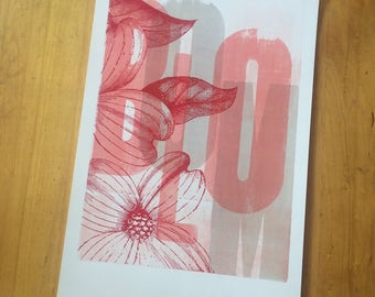 Red Dogwood Bloom One of a Kind Monoprint Hand Printed Letterpress Poster linocut wood engraving wood type no104