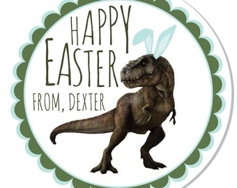 Personalized Stickers -- Bunny T-REX -- Personalized Labels, Personalized Easter Stickers, Personalized Dinosaur Label -- Choice of Size
