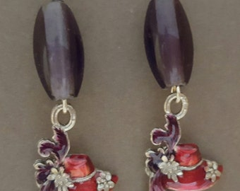 Red Hat Earrings with Glass Purple Bead