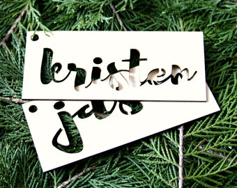 Stocking Tag - Stocking Ornament - Stocking Personalization - Wood Monogram - Wood Name tag
