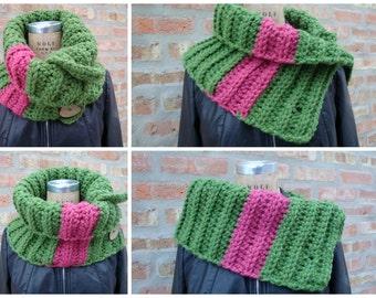 Cowl Scarf Crocheted in Pink & Green - AKA - Custom Colors - Sorority