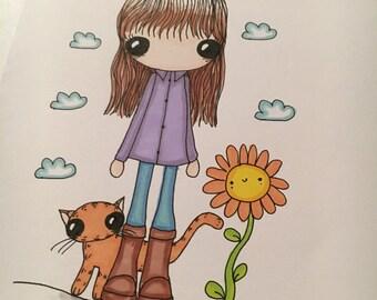 Happy Flower Original A5 Doodle