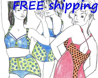 FREE Ship Pattern MIX5L for Big Size Wireless Tankini and Bra and Corset pantie