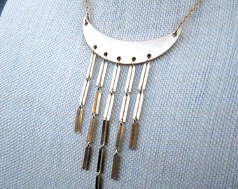 Funhouse Necklace - cascading gold chain bib statement necklace - Free Shipping to USA