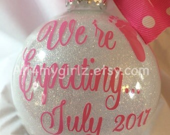 Custom Glitter Ornament Christmas We're Expecting