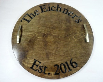 Wine Barrel Tray Wine Barrel Decor Wine Barrel Sign Wood Serving Tray Personalized Serving Platter Ottoman Tray Alternative Guest Book