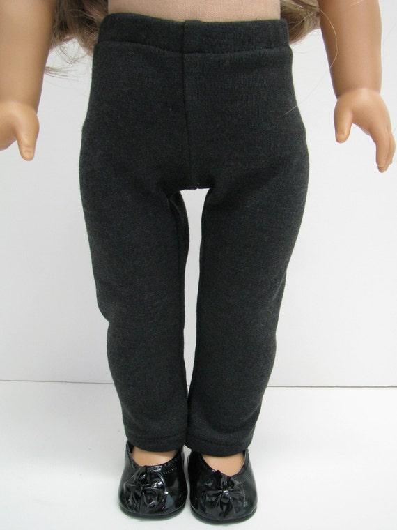 "Girl Doll Clothes - 18 Inch Doll Clothes - American Handmade - Leggings Skinny Pants - Fits 18"" Dolls - 18 Inch Doll Pants - Dark Grey"