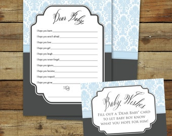 Dear Baby cards in blue damask, Printable baby wishes shower game, dear baby instant download