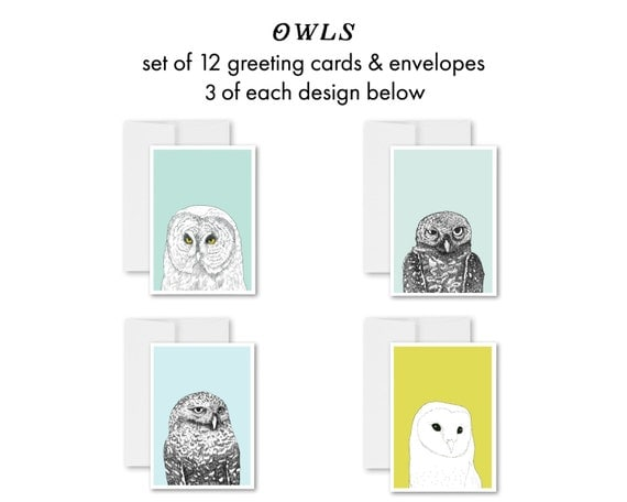 greeting cards, greeting card set, blank inside, owl art, owl drawings, woodland animals, modern, contemporary, handmade cards, birds - Owls