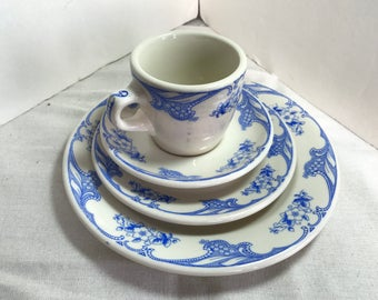 Shanango Blue Rose Point Restaurant China 4 pcs
