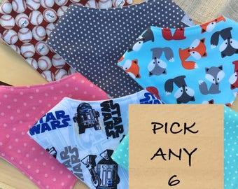 Pick Any 6 Bandana Bibs / Bandana Drool Bibs