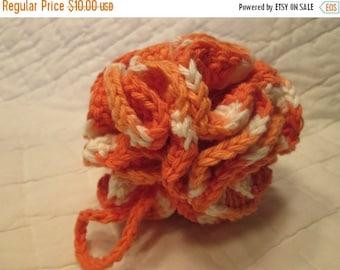20% OFF WEEKEND SALE Crocheted Shower/Bath Pouf/Scrubbie All Cotton Yarn Tangerine