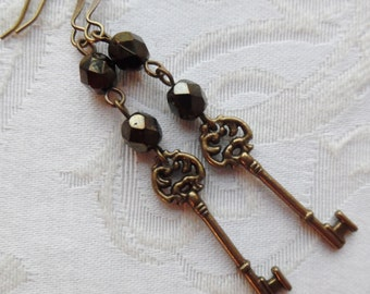50% Off Steampunk Earrings- Wee Skeleton Key Charms with Czech Glass Beads