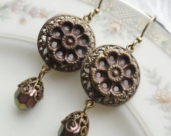 Rose Copper, Antique Mirror Back Button(c.1800's) Earrings
