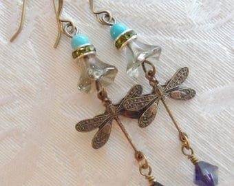 Dragonfly Charm with Turquoise Beads and Swarovski Crystal- 75% Off Sale